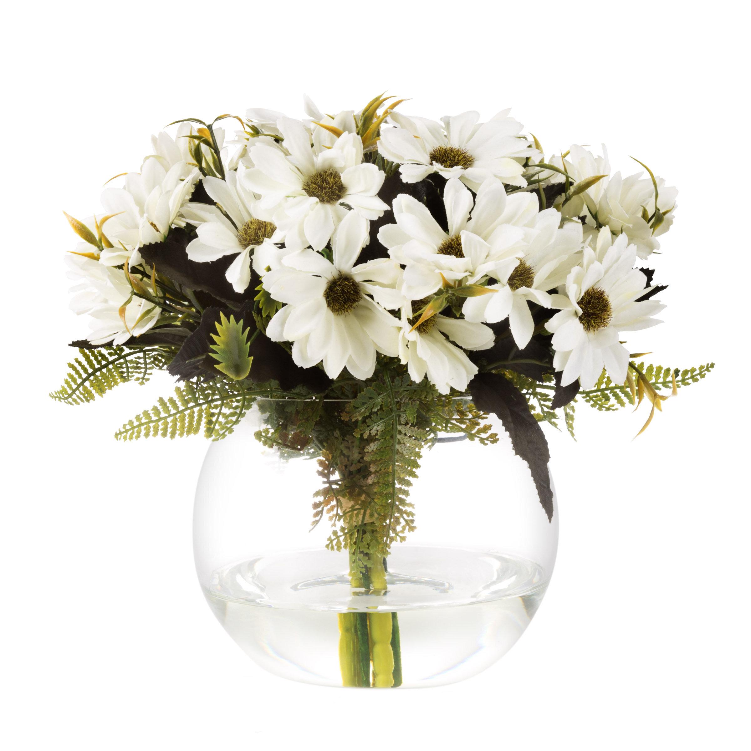 Daisy Floral Arrangement In Glass Vase Reviews Joss Main