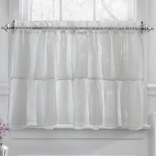 Elegant Crushed Voile Ruffle Kitchen Window Tier Curtain Set Of 2
