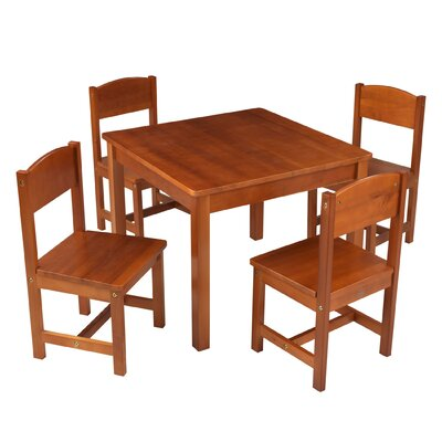 KidKraft Farmhouse Kids 5 Piece Writing Table and Chair Set Color: Pecan