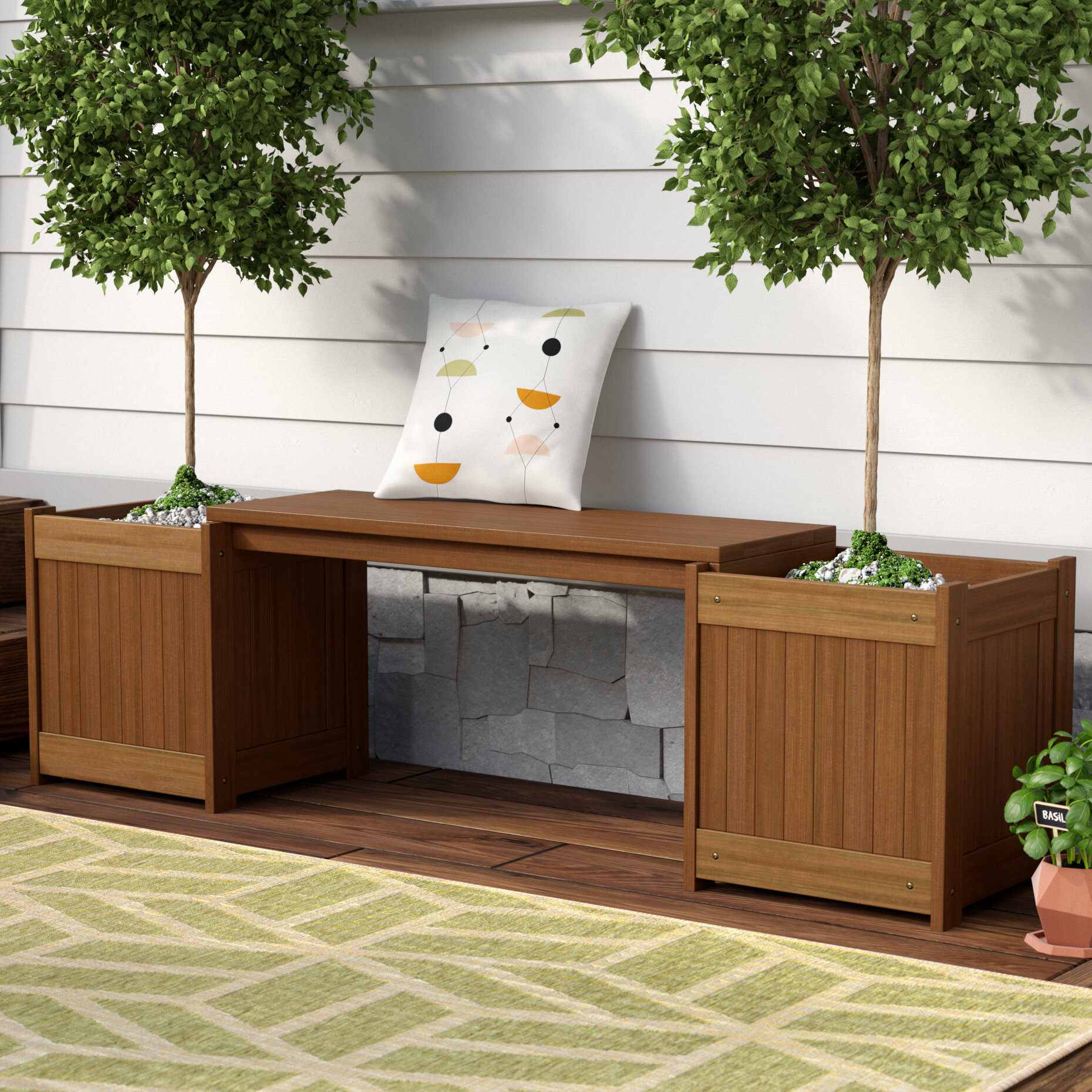 Langley Street Arianna Rectangular Wood Planter Bench Reviews Wayfair