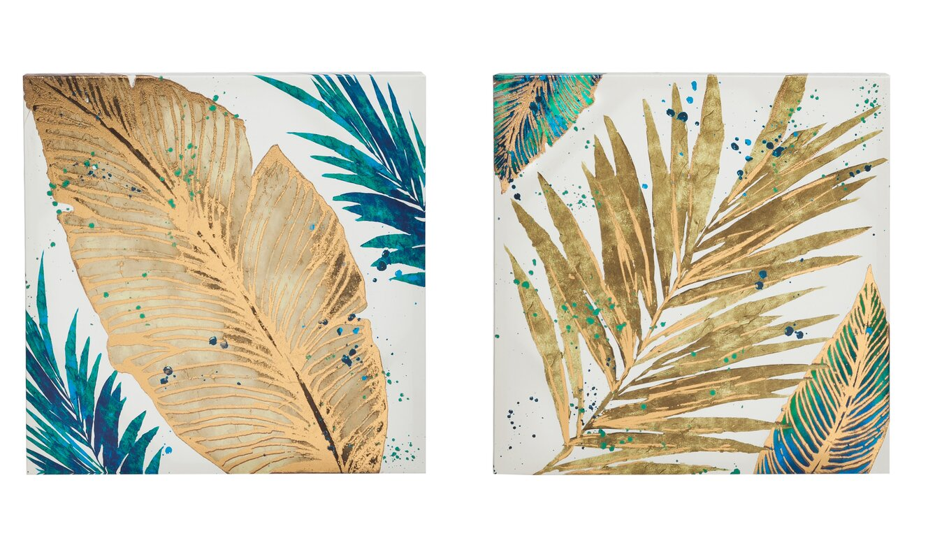 Mercer41 Foil Palm Leaves Painting Print on Canvas in Gold & Reviews ...