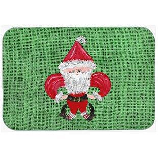 Christmas Santa Fleur De Lis Kitchen/Bath Mat