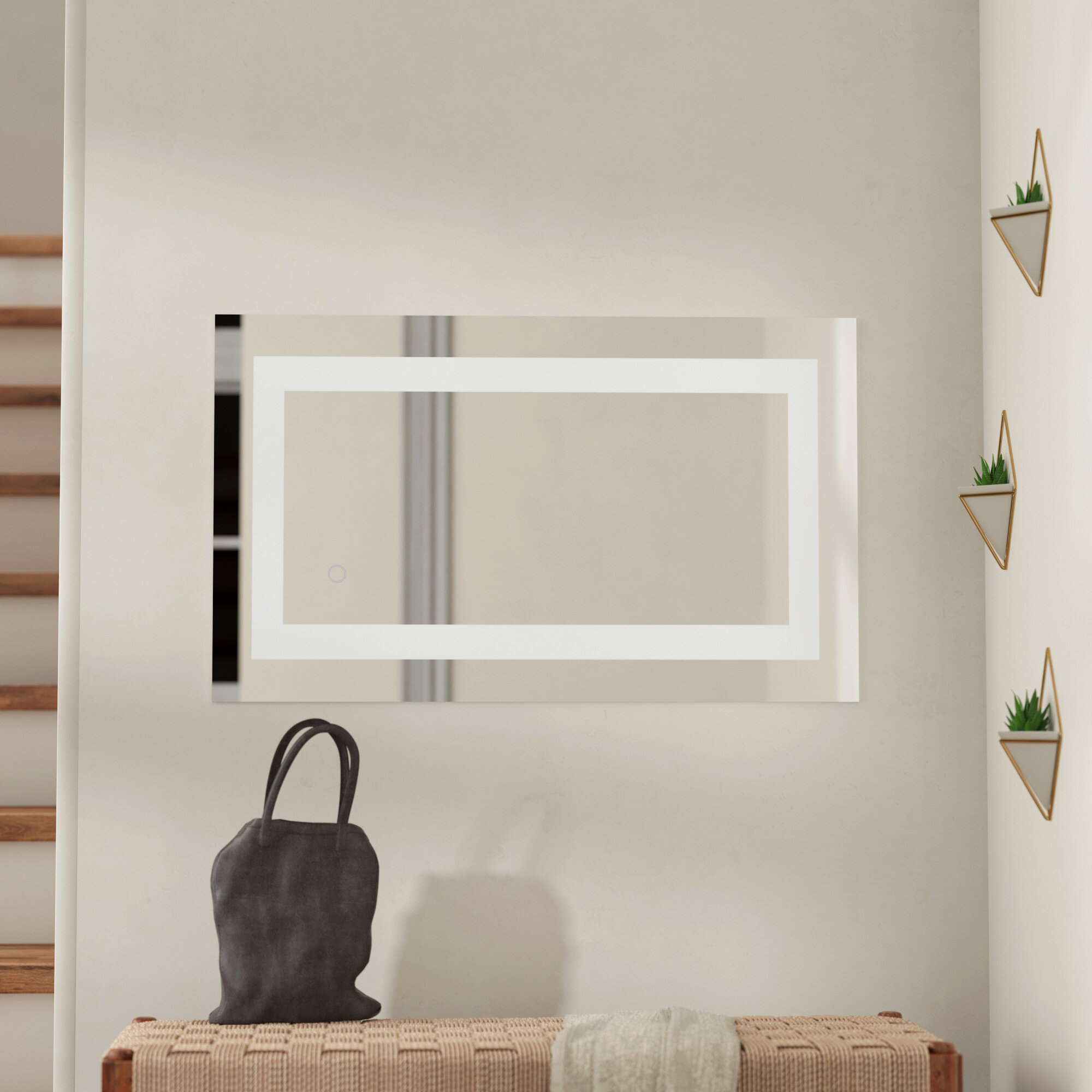 Peachy Tulloch Hardwired Led Lighted Bathroom Mirror Download Free Architecture Designs Scobabritishbridgeorg