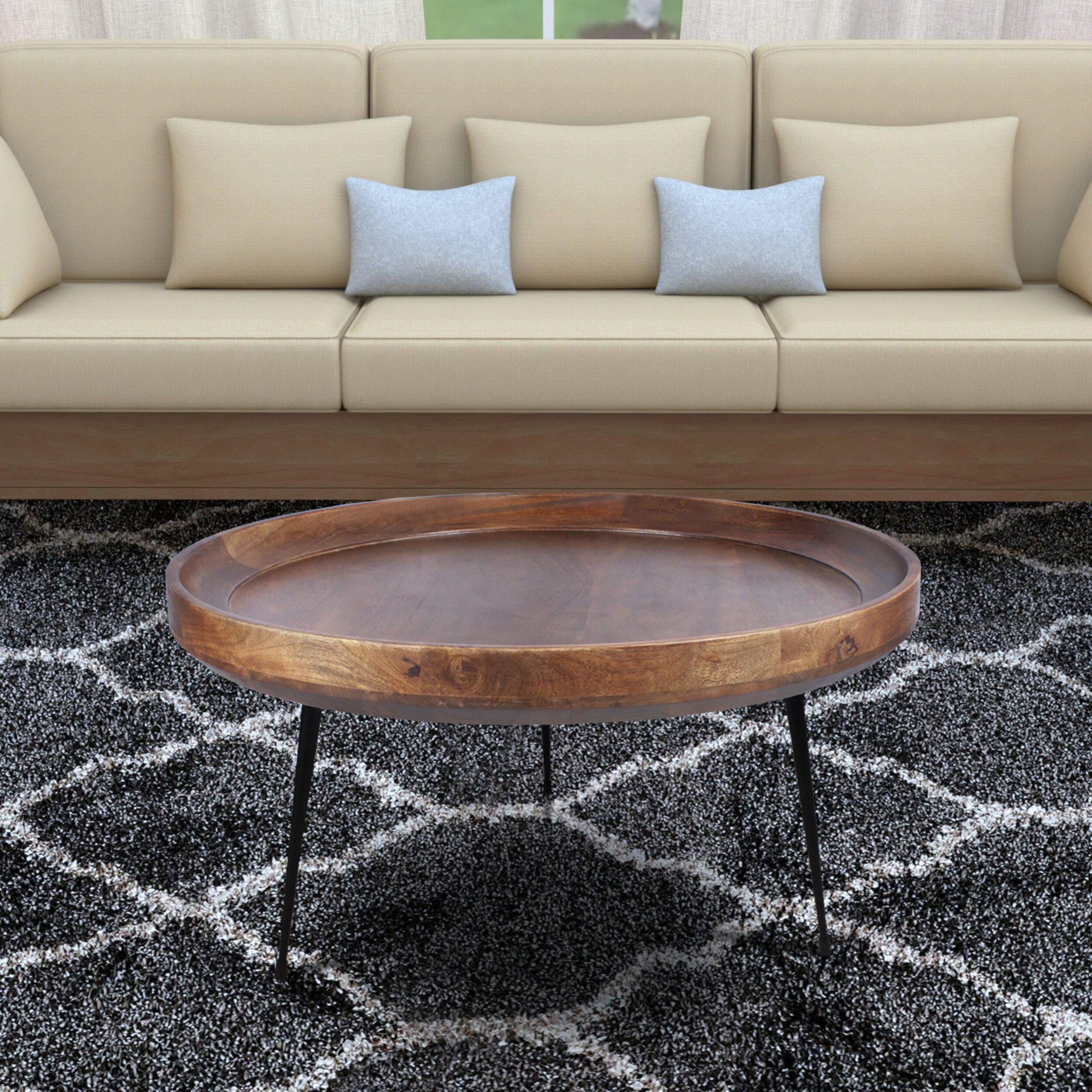 Streeter Round Mango Wood Coffee Table With Tray Top