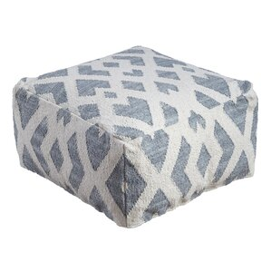 Jayda Cotton Pouf Ottoman by Highland Dunes