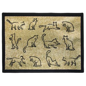PB Paws & Co. Gold / Black Kitten Fun Tapestry Area Rug