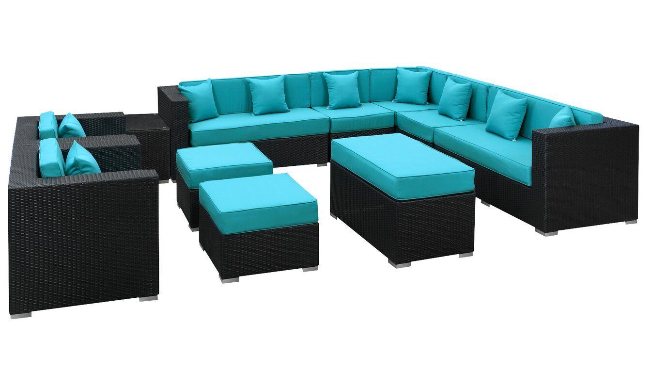 Modway Coherence 11 Piece Rattan Sectional Set With