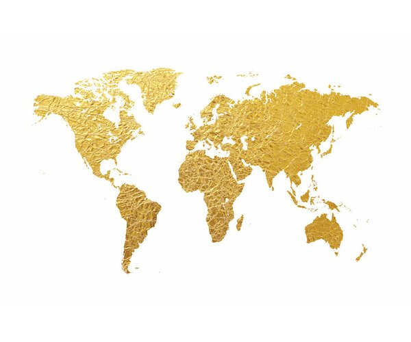 East Urban Home World Map Series Gold Foil On White