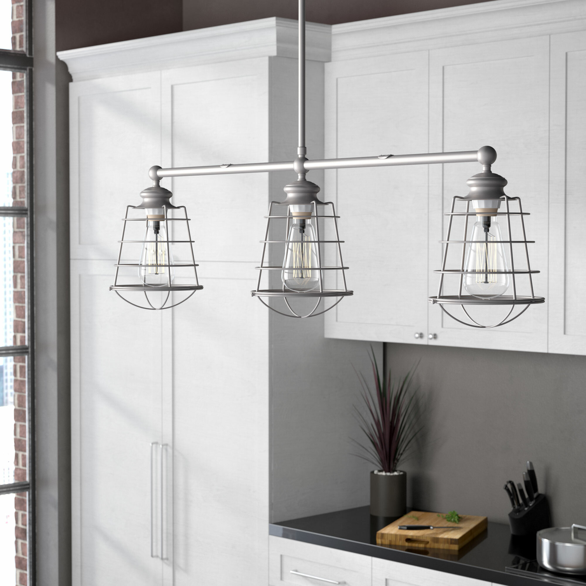 Leda 3 light kitchen island pendant