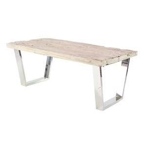 Wolter Modern Stainless Steel and Wood Rectangle Coffee Table by Brayden S..