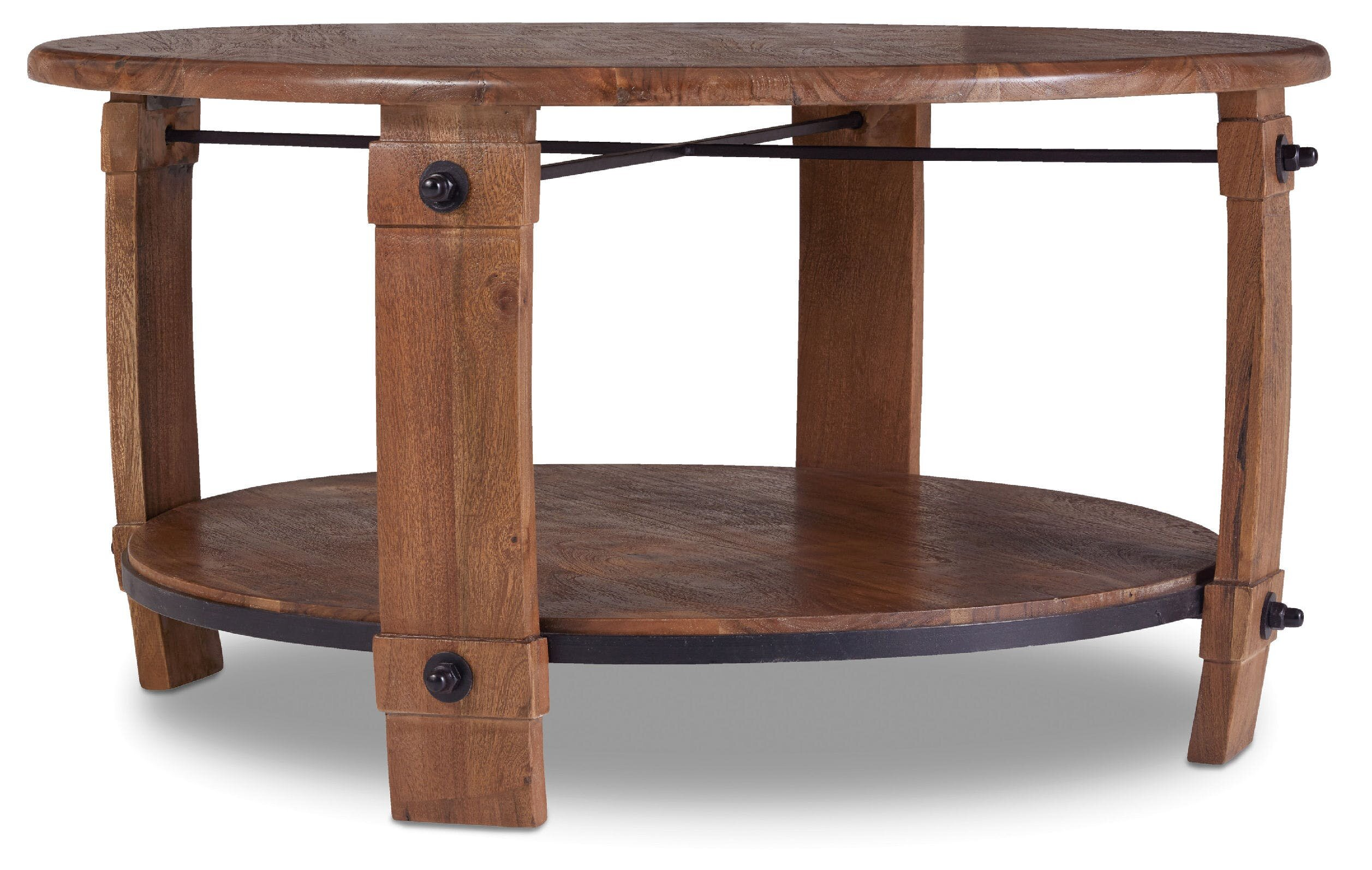 Eloise Round Wine Barrel Coffee Table with Magazine Rack & Reviews