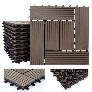 Rhone 30 x 30cm WPC Wood-Effect Tile in Brown (Set of 11) by Mendler