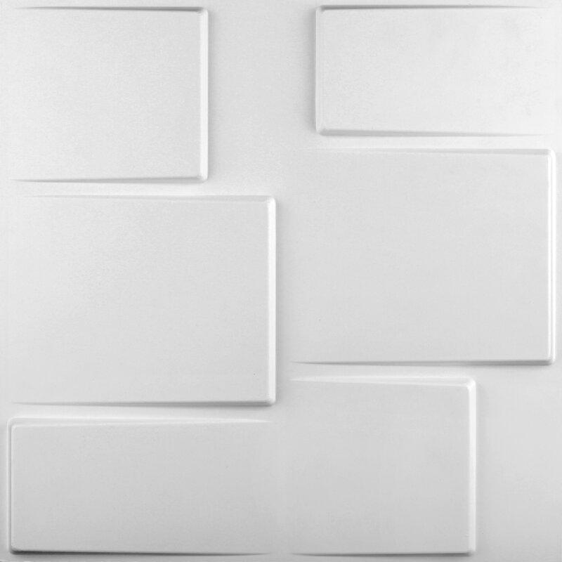 "threeDwall 19.6' x 19.6"" Blocks Brick 3D Embossed Wallpaper Panels"