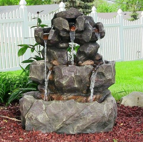Resin Layered Rock Waterfall Outdoor Fountain With LED Light