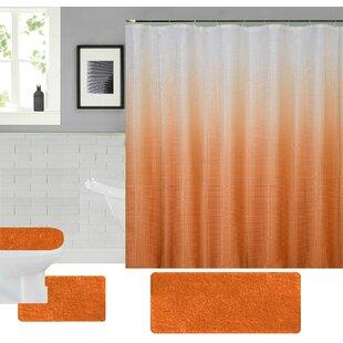 Spring 4 Piece Shower Curtain Set Hooks
