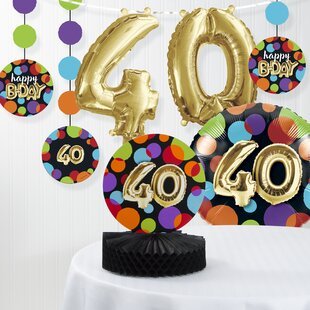 Balloon 40th Birthday Decorations Kit Set Of 7