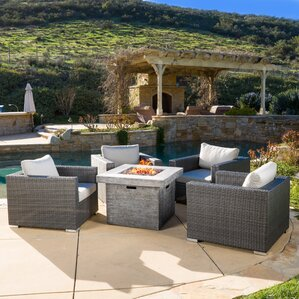 Murillo 5 Piece Conversation Set With Sunbrella Fire Pit
