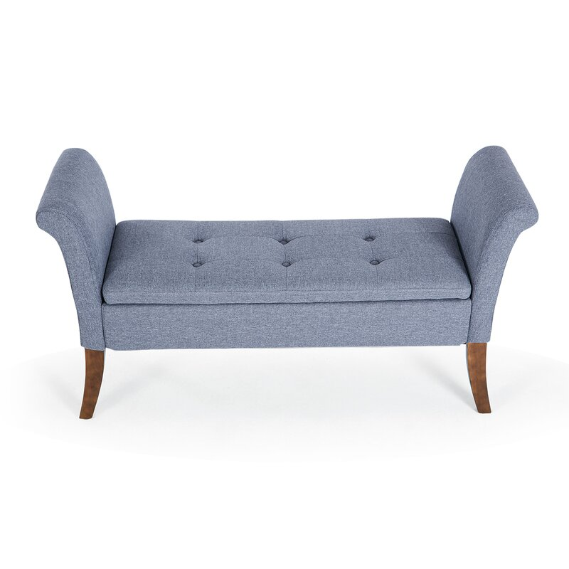 Charmant Yokoyama Settee Upholstered Button Tufted Storage Bench