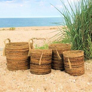 3d5e42405a74f Boho Beach House Tassel 4 Piece Wicker Basket Set
