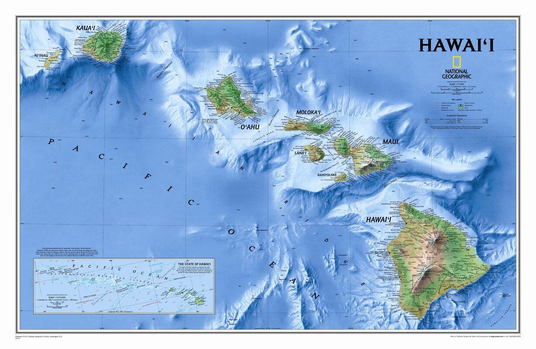 National Geographic Maps Hawaii State Wall Map Reviews Wayfair - Hawaii world map