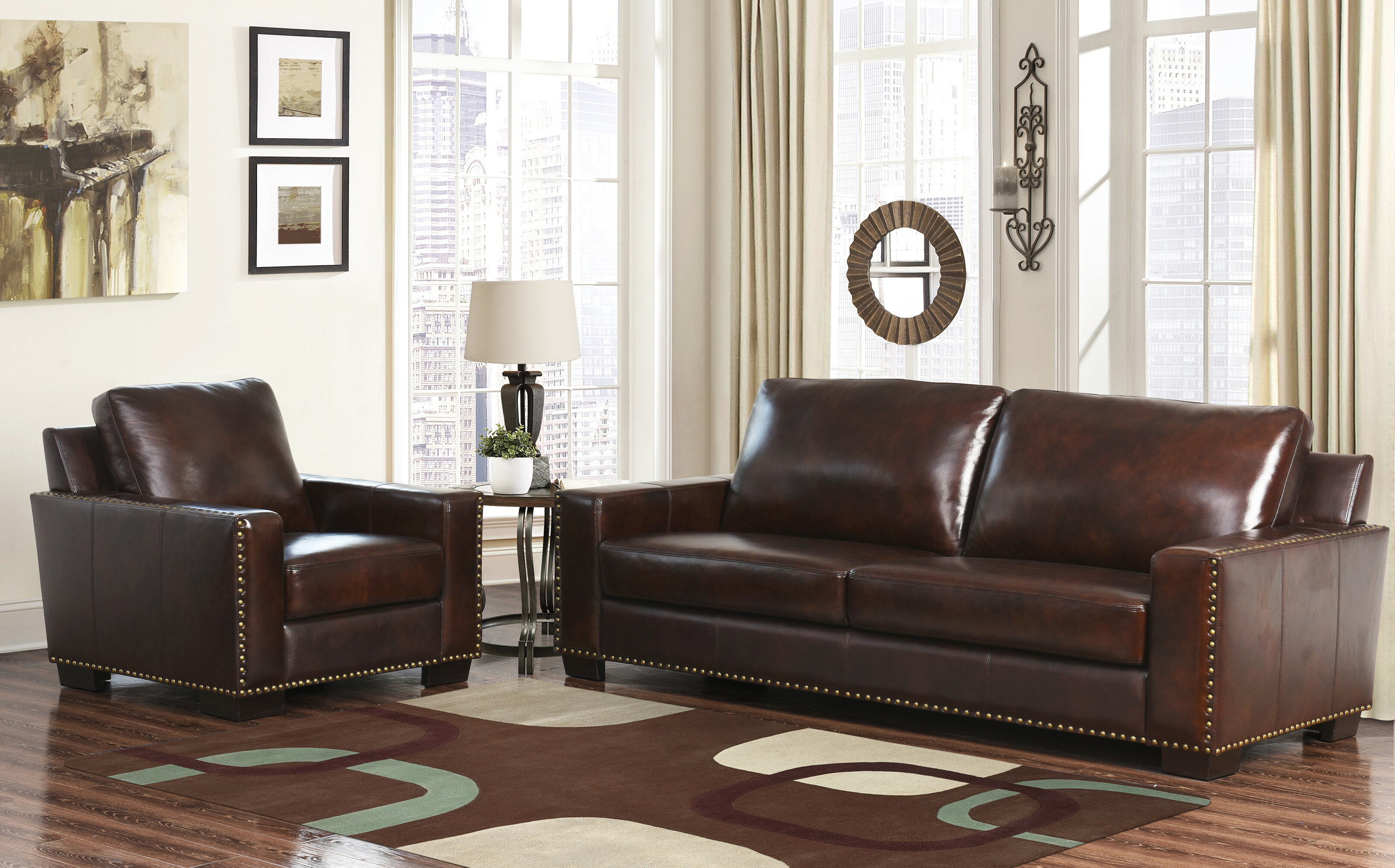 Darby Home Co William 2 Piece Leather Living Room Set & Reviews