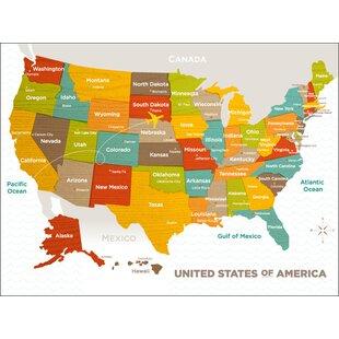Jorden Wood Grain US Map Canvas Art