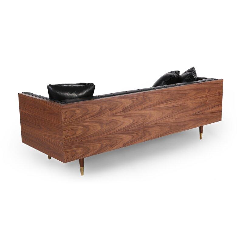 Comm Office Lancaster Standard Classic Midcentury Leather Sofa   Wayfair