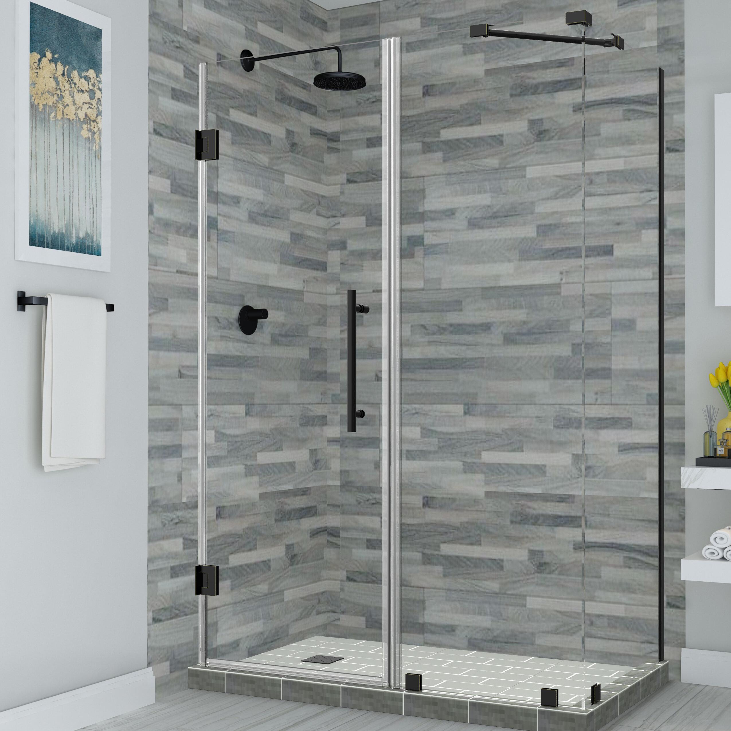 3 16 Clear Glass Hinged Corner Glass Shower Door Chrome