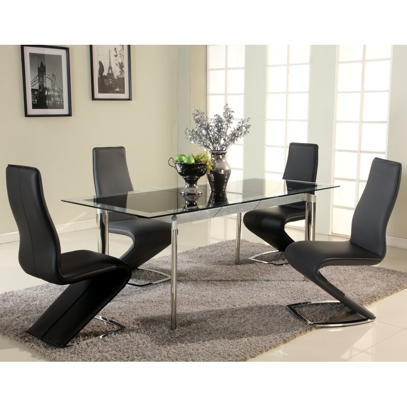 Glass Dining Room: Chellsey Extendable Glass Dining Table & Reviews