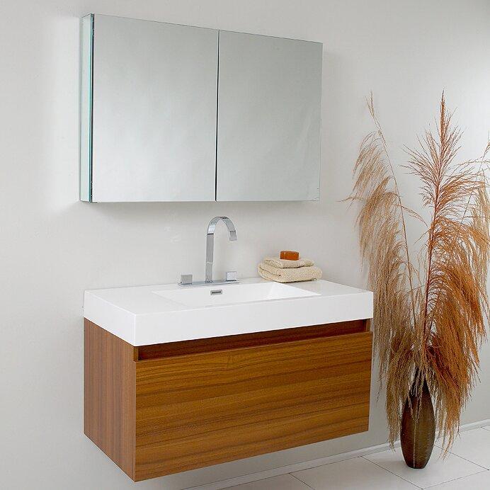 Senza Mezzo Modern 39 Single Bathroom Vanity Set With Mirror