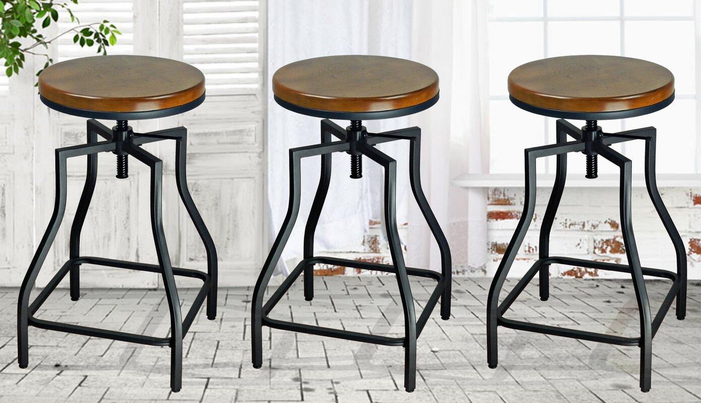 ehemco adjustable height swivel bar stool  reviews  wayfair - defaultname