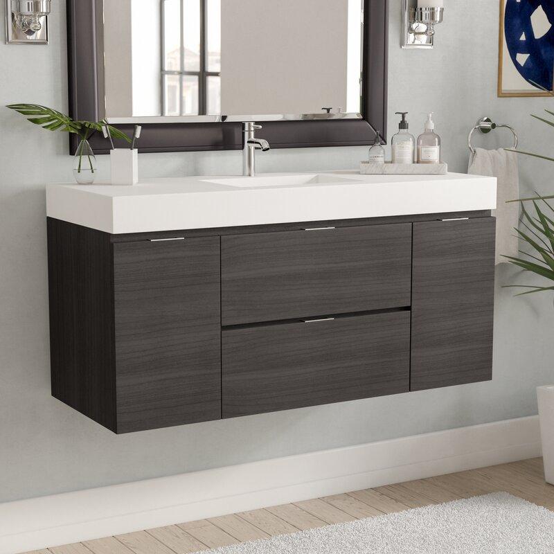 Wayfair | Wade Logan Tenafly 48 Single Wall Mount Modern Bathroom Vanity Set & Wayfair | Wade Logan Tenafly 48 Single Wall Mount Modern Bathroom ...