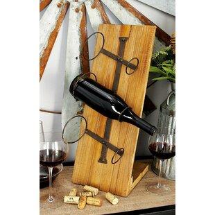 Abington Wood Metal 3 Bottle Tabletop Wine Bottle Rack