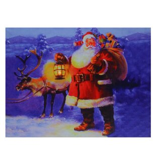 U0027LED Lighted Santa Claus With Reindeer Christmasu0027 Graphic Art Print On  Canvas