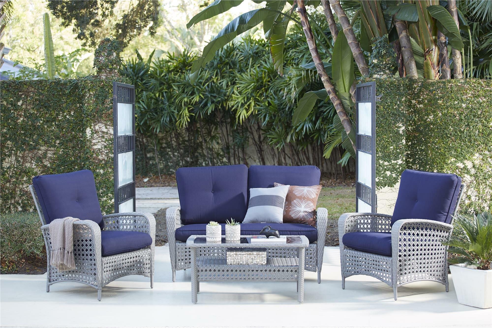 Highland dunes edwards 4 piece rattan sofa seating group with cushions reviews wayfair