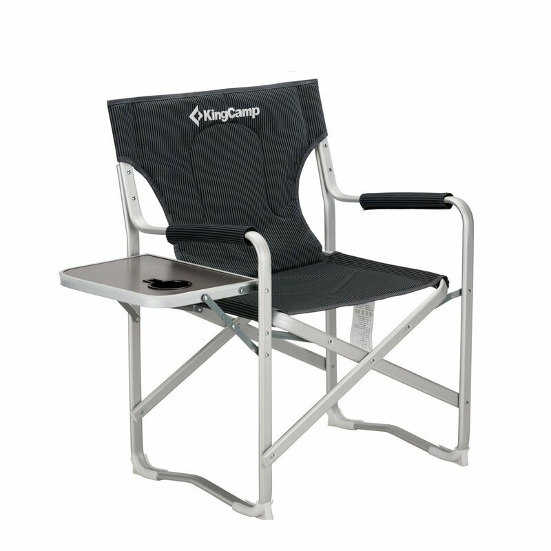 Superbe Portable Heavy Duty Folding Reclining Camping Chair With Armrest Side Table  And Cup Holder