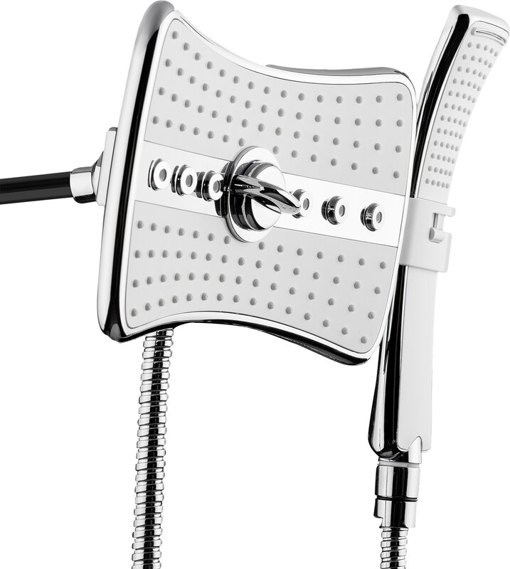 AKDY 2.5 GPM Rainfall 2 Piece Jet Shower Head and Handheld Shower ...
