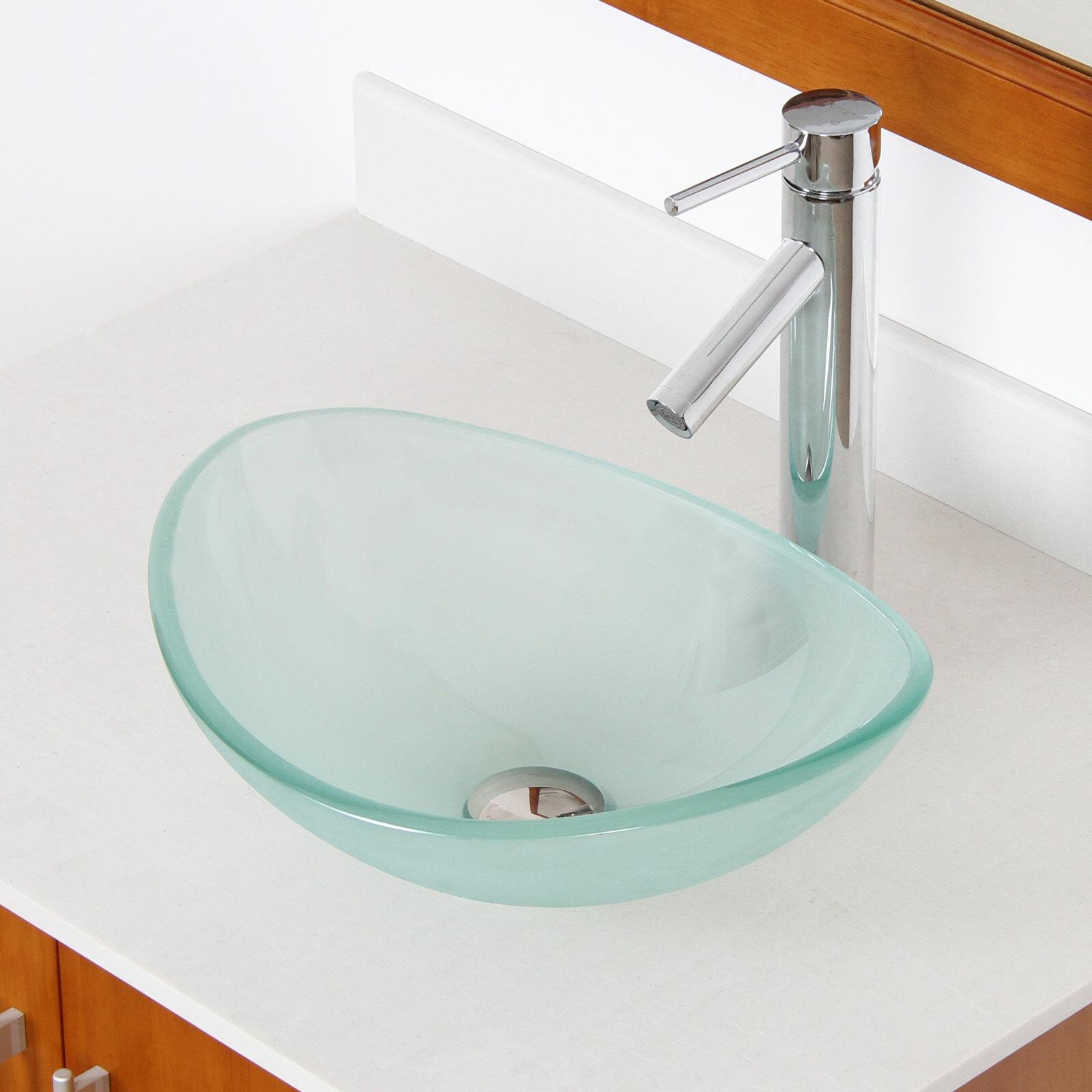 Elite Mini Tempered Glass Oval Vessel Bathroom Sink & Reviews | Wayfair