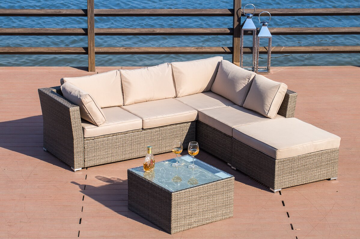 Amesbury Solar Power Light Up Luxury 4 Piece Sofa Seating Group With Cushion