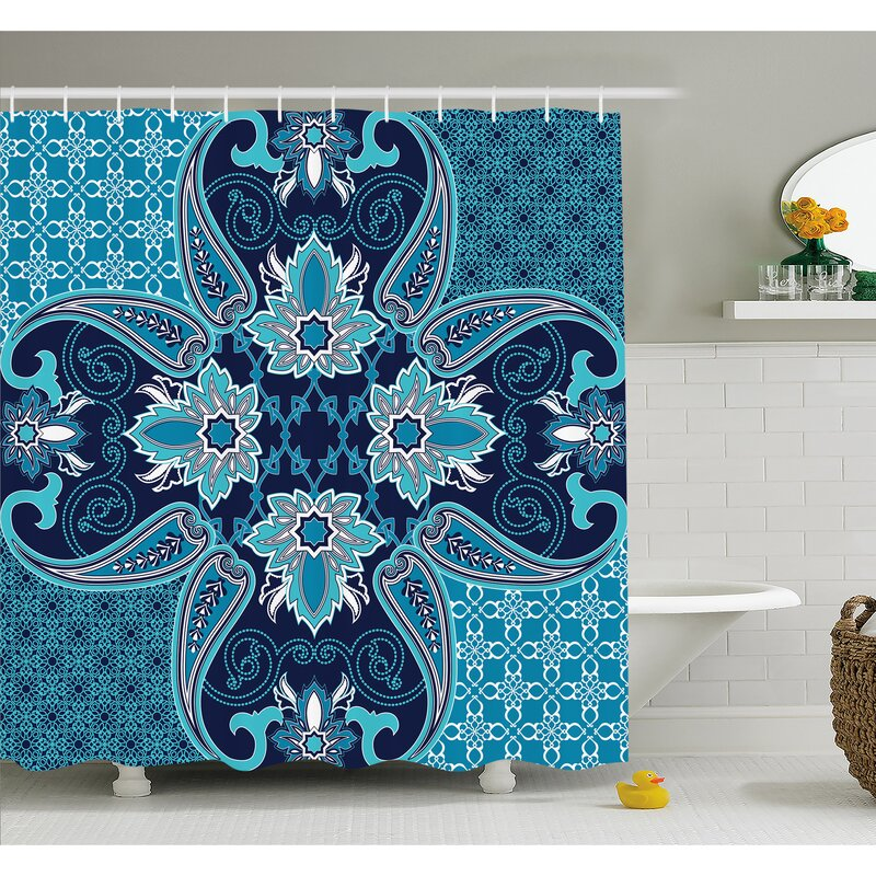 Floral Paisley Design Bohemian Style Vintage Flower Petal Pattern Shower Curtain Set
