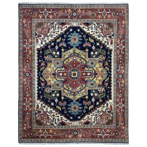Roselle Hand Woven Wool Red/Blue Area Rug