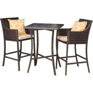 Alexa 3 Piece Bar Height Dining Set With Cushion