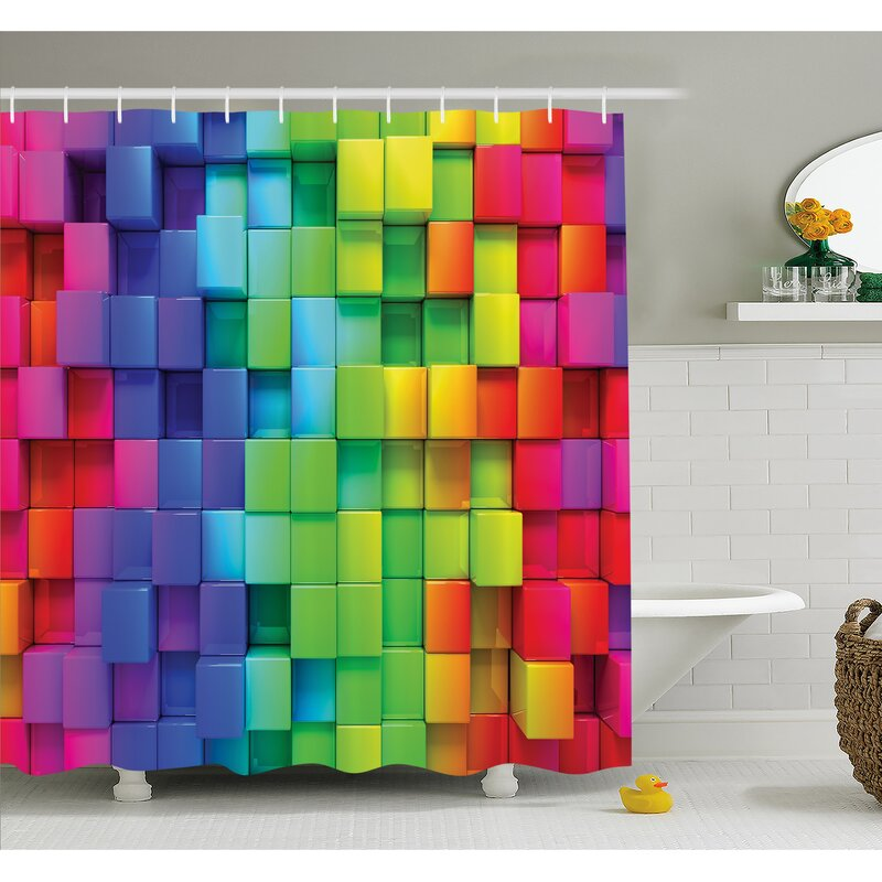 Ambesonne Rainbow Color Contour Display Futuristic Block Brick-Like ...