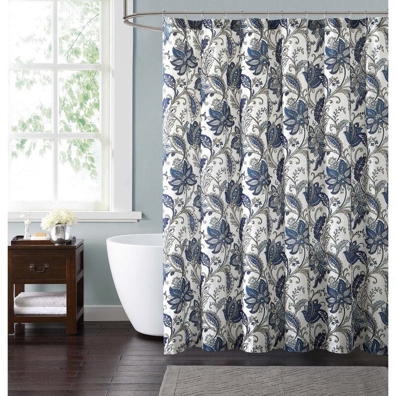 floral shower curtain. Wali Floral Shower Curtain