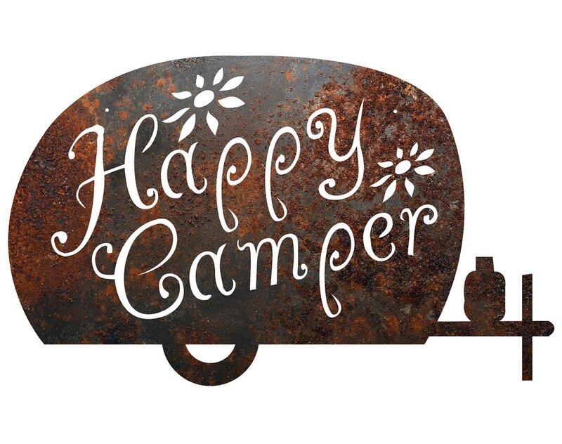 Metal Camping Happy Camper Sign Wall Decor