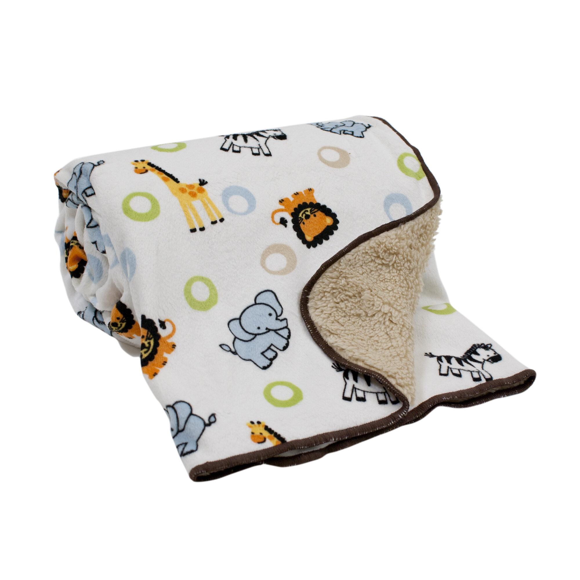 Jungle Buddies Velour Sherpa Blanket