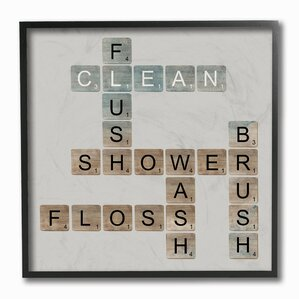 restroom wall decor.  Scrabble Bathroom Illustration Textual Art Bath Laundry Wall