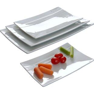 Rectangular Striped 4 Piece Plate Set  sc 1 st  Wayfair & Rectangular Plates \u0026 Saucers You\u0027ll Love | Wayfair