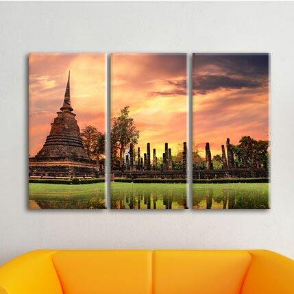 Buddha Temple at Sunset 3-Piece Photographic Print on Canvas Set