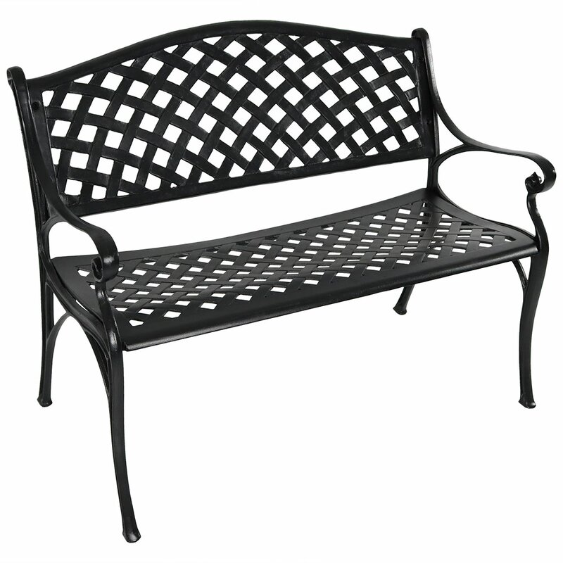 Ismenia Checkered Outdoor Cast Aluminum Patio Garden Bench